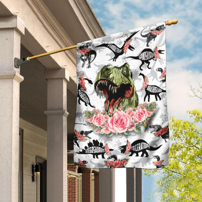 Dinosaur Trex Flag | Garden Flag | Double Sided House Flag - GIFTCUSTOM