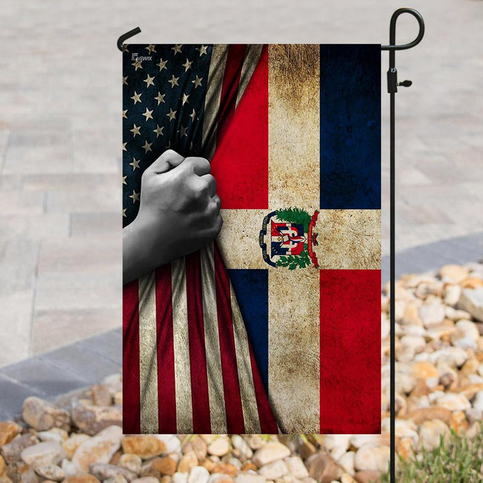 Dominican Republic American US Flag | Garden Flag | Double Sided House Flag - GIFTCUSTOM