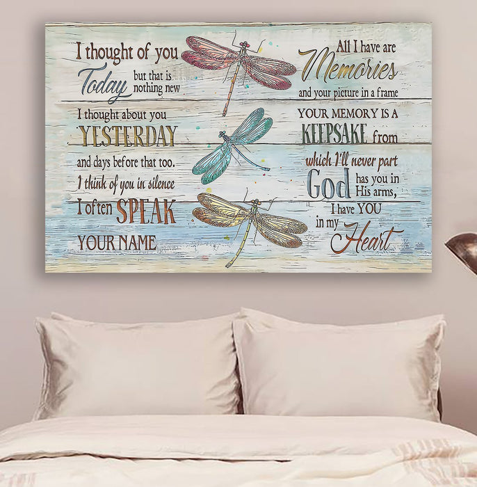 Dragonfly Canvas and Poster | I thought of you | wall decor visual art - GIFTCUSTOM