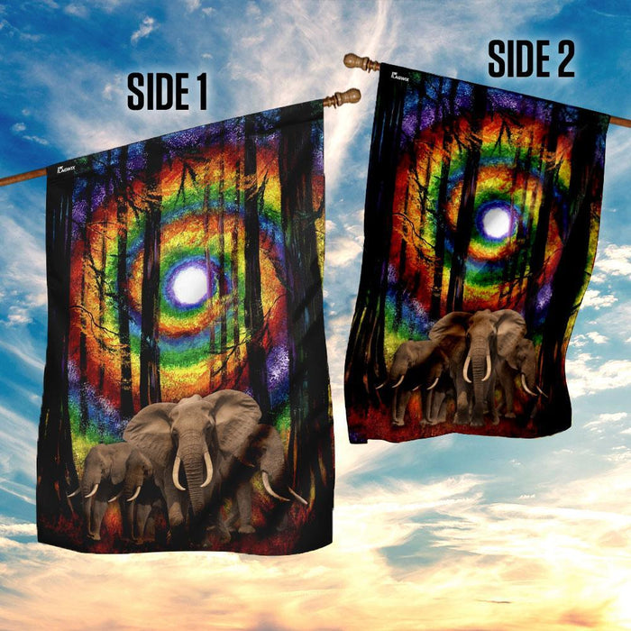Elephant Buddha Sun Rainbow Chakra Flag | Garden Flag | Double Sided House Flag - GIFTCUSTOM