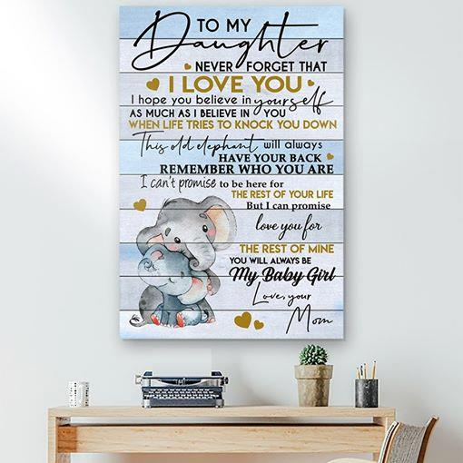 ELEPHANT Canvas and Poster ��� Mom to Daughter ��� I love you wall decor visual art - GIFTCUSTOM