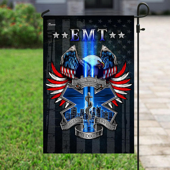 EMT We Will Never Forget 9/11 Flag | Garden Flag | Double Sided House Flag - GIFTCUSTOM