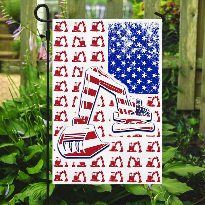 Excavator 4th July American Flag | Garden Flag | Double Sided House Flag - GIFTCUSTOM