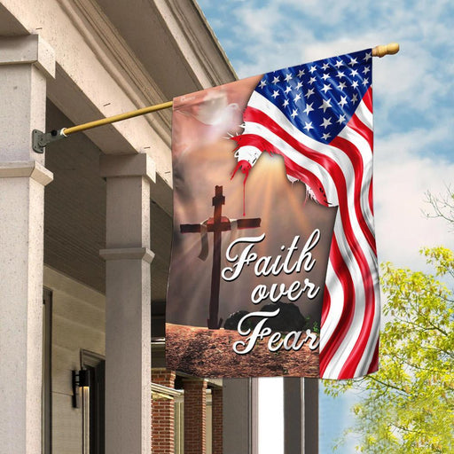 Faith Over Fear Jesus Christian Cross American Flag | Garden Flag | Double Sided House Flag - GIFTCUSTOM