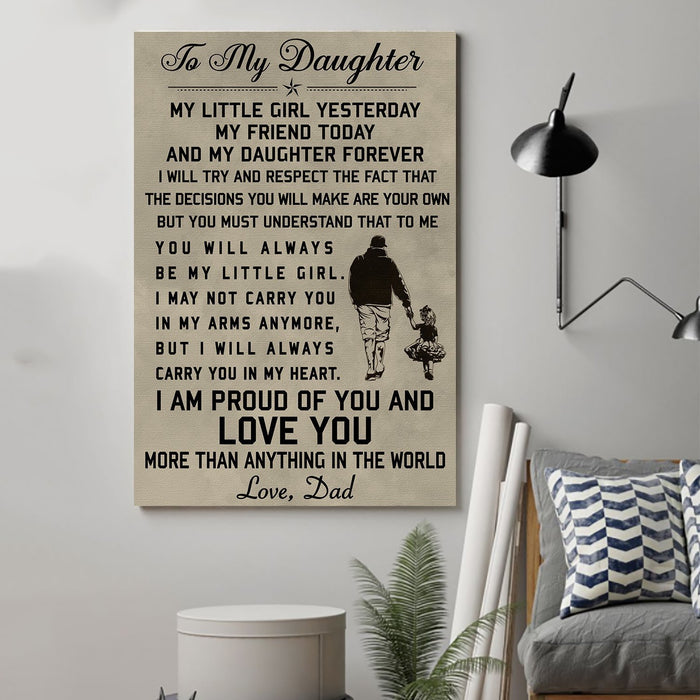 Family Canvas and Poster ��� Dad to daughter ��� love you wall decor visual art - GIFTCUSTOM