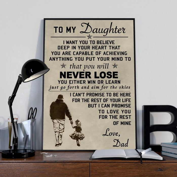 Family Canvas and Poster ��� Dad to daughter ��� Never lose wall decor visual art - GIFTCUSTOM