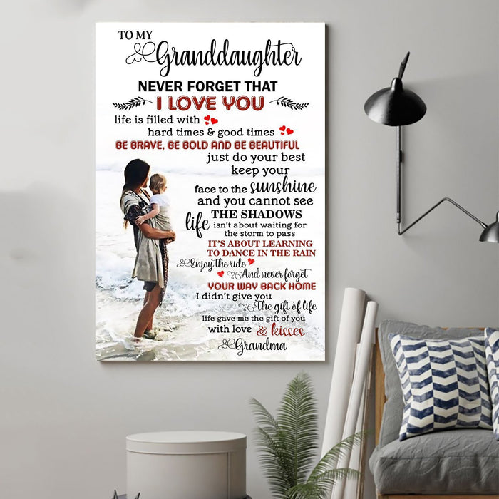 Family Canvas and Poster ��� Grandma to granddaughter ��� Never forget that wall decor visual art - GIFTCUSTOM