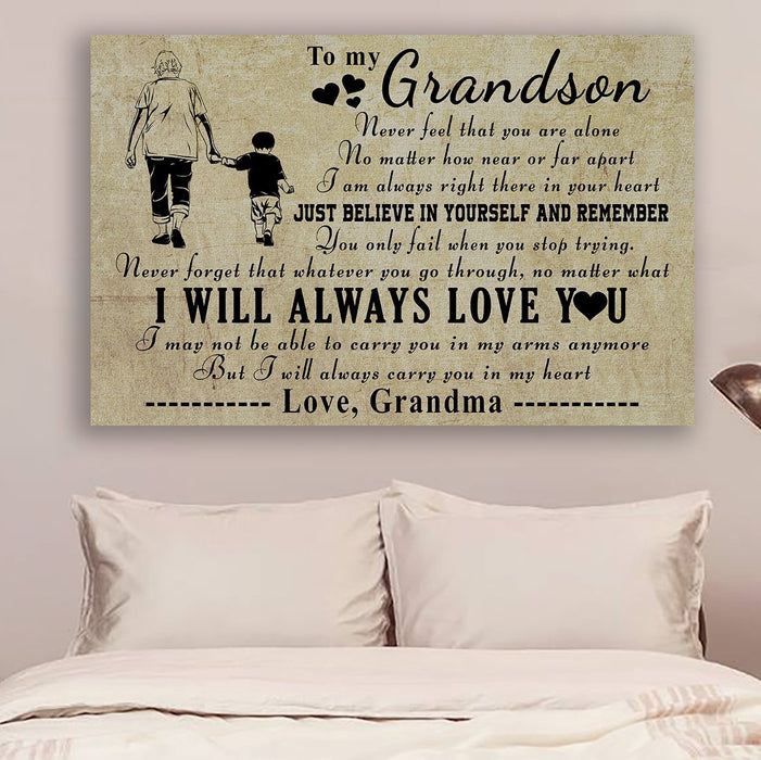 family Canvas and Poster ��� grandma to grandson ��� never feel that wall decor visual art - GIFTCUSTOM