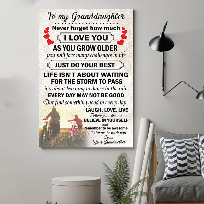 Family Canvas and Poster ��� Grandmother to granddaughter ��� Laugh, love, live wall decor visual art - GIFTCUSTOM