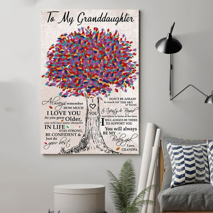 Family Canvas and Poster ��� grandpa to granddaughter ��� always remember vs2 wall decor visual art - GIFTCUSTOM