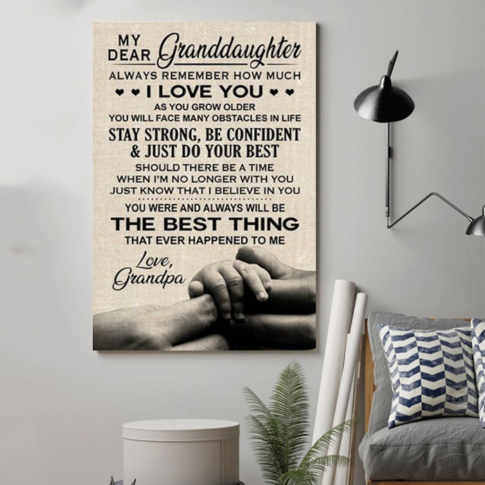 Family Canvas and Poster ��� grandpa to granddaughter ��� always remember wall decor visual art - GIFTCUSTOM