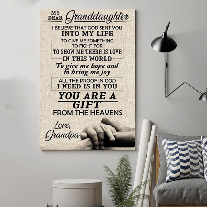 Family Canvas and Poster ��� grandpa to granddaughter ��� I believe that wall decor visual art - GIFTCUSTOM