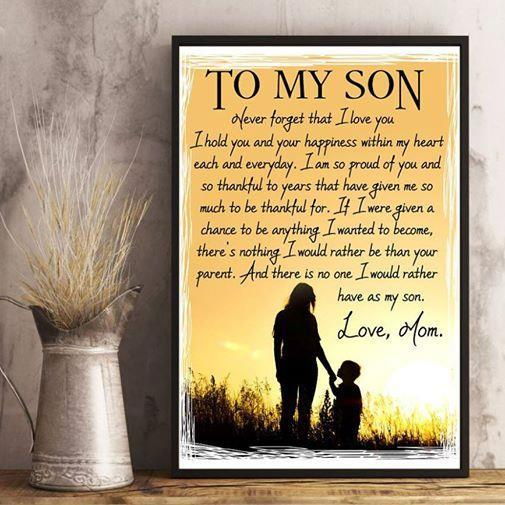 Family Canvas and Poster ��� Mom to son ��� Never forget that wall decor visual art - GIFTCUSTOM