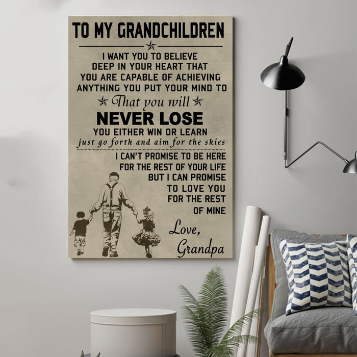 family Canvas and Poster ��� to my grandchildren wall decor visual art - GIFTCUSTOM