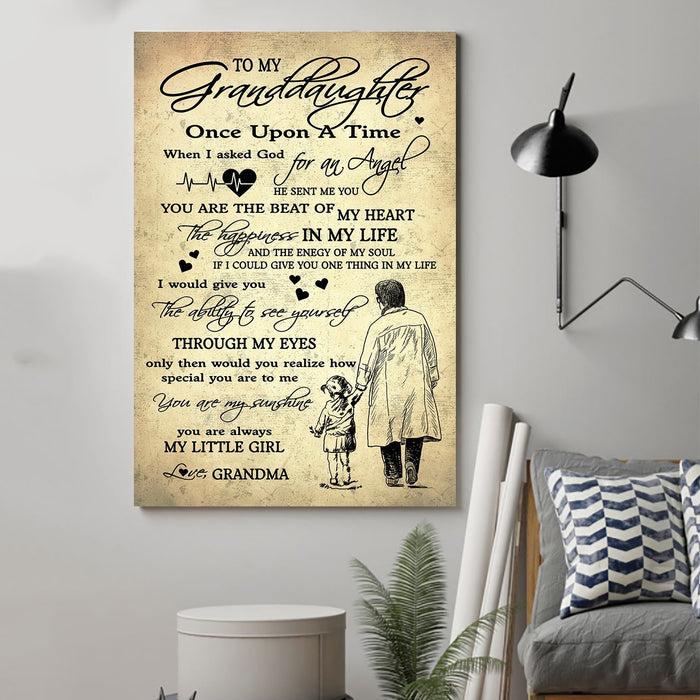 Family Canvas and Poster ��� To my granddaughter ��� Once upon a time wall decor visual art - GIFTCUSTOM