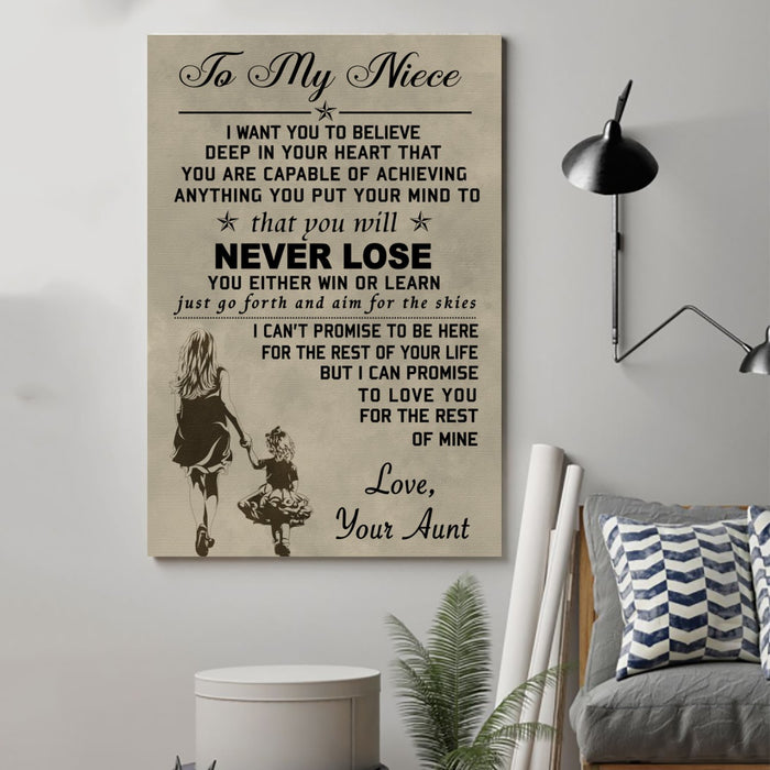 family Canvas and Poster ��� to my niece wall decor visual art - GIFTCUSTOM