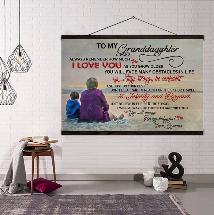Family Hanging Canvas Grandma to granddaughter stay strong and be confident wall decor visual art - GIFTCUSTOM