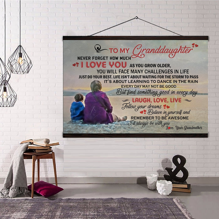 Family Hanging Canvas Grandmother to granddaughter laugh, love, live wall decor visual art - GIFTCUSTOM