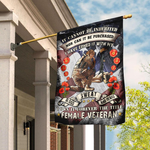 Female Veteran Poppy American Flag | Garden Flag | Double Sided House Flag - GIFTCUSTOM