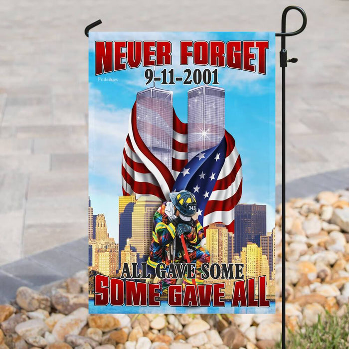 Firefighter 343. Never Forget 9-11-2001 Flag | Garden Flag | Double Sided House Flag - GIFTCUSTOM