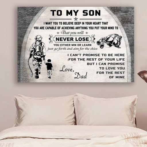 Firefighter Canvas and Poster | Dad to son | Never lose | wall decor visual art - GIFTCUSTOM
