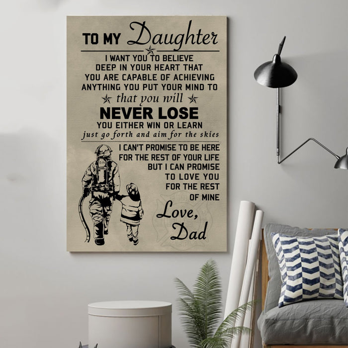 firefighter Canvas and Poster ��� to my daughter wall decor visual art - GIFTCUSTOM
