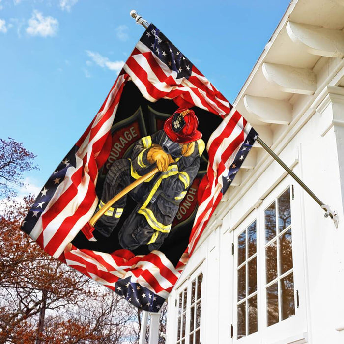 Firefighter I Have Earned It With My Blood, Sweat And Tears Flag | Garden Flag | Double Sided House Flag - GIFTCUSTOM