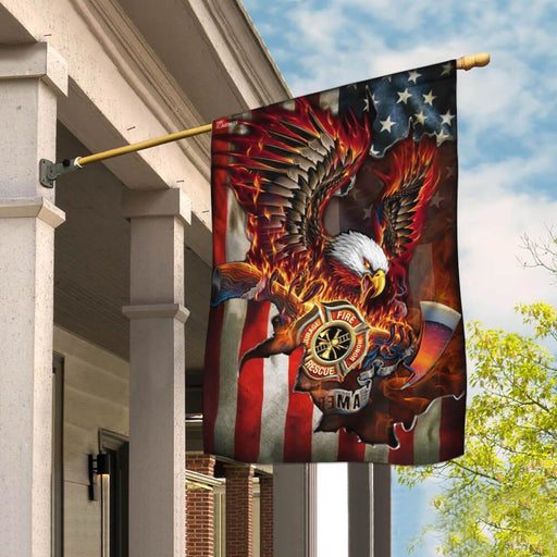 Firefighter Pride American Eagle Flag | Garden Flag | Double Sided House Flag - GIFTCUSTOM