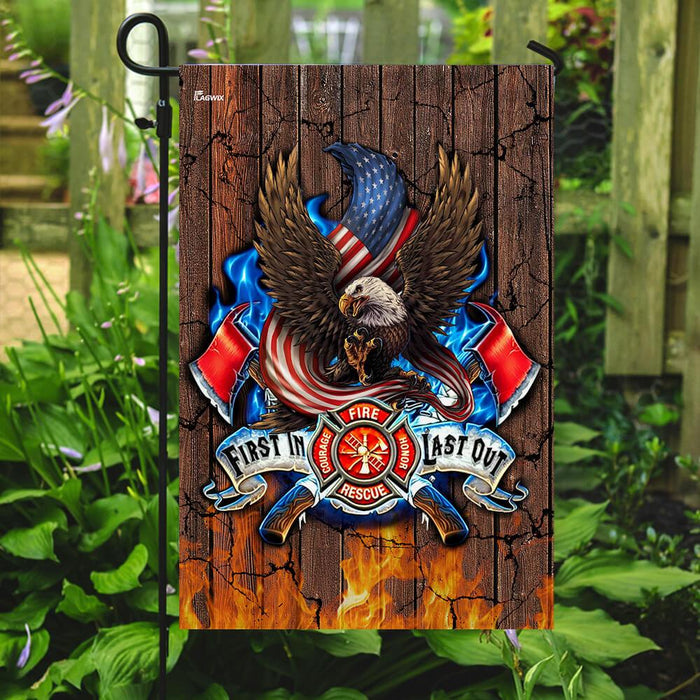 First In Last Out Thin Red Line Flag | Garden Flag | Double Sided House Flag - GIFTCUSTOM