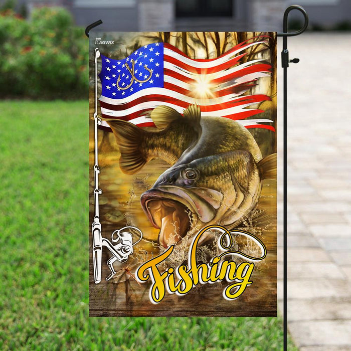 Fishing American Flag | Garden Flag | Double Sided House Flag - GIFTCUSTOM