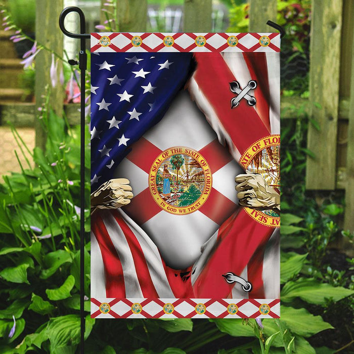 Florida And American Flag | Garden Flag | Double Sided House Flag - GIFTCUSTOM