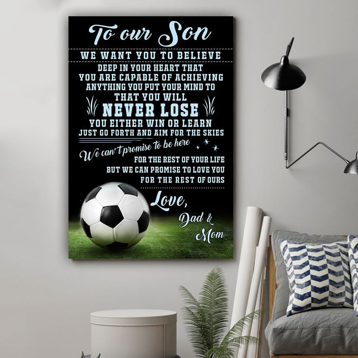 Football Canvas and Poster ��� Dad and mom to son ��� Never lose wall decor visual art - GIFTCUSTOM