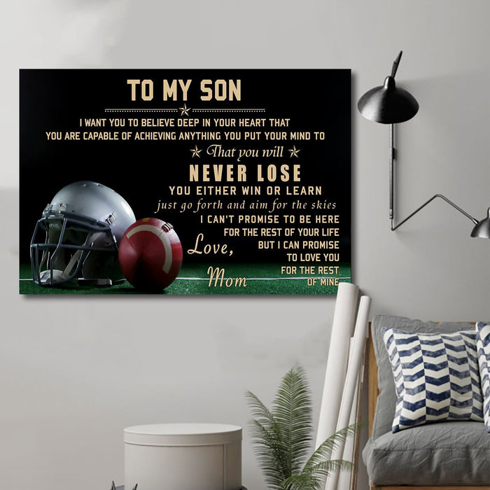 Football Canvas and Poster ��� mom to son ��� never lose wall decor visual art - GIFTCUSTOM