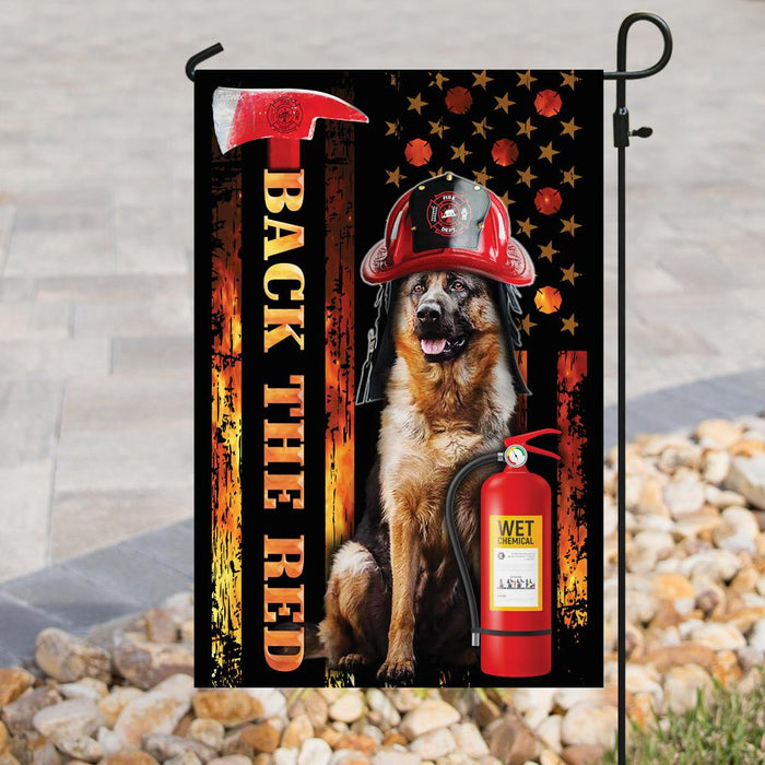 German Shepherd Firefighter Back The Red Flag | Garden Flag | Double Sided House Flag - GIFTCUSTOM