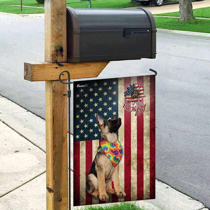 German Shepherd Hippy American US Flag | Garden Flag | Double Sided House Flag - GIFTCUSTOM