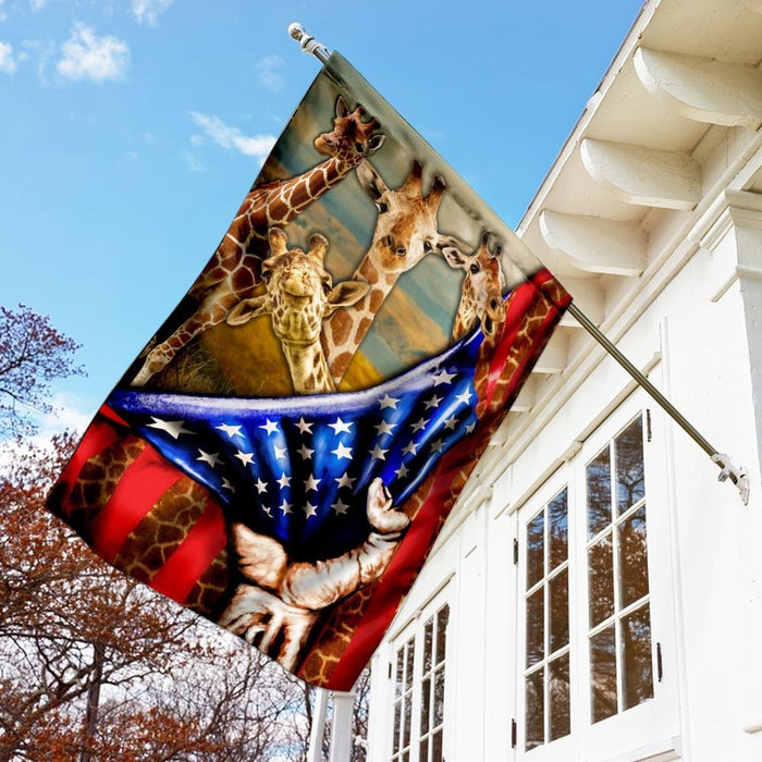 Giraffes American Flag | Garden Flag | Double Sided House Flag - GIFTCUSTOM