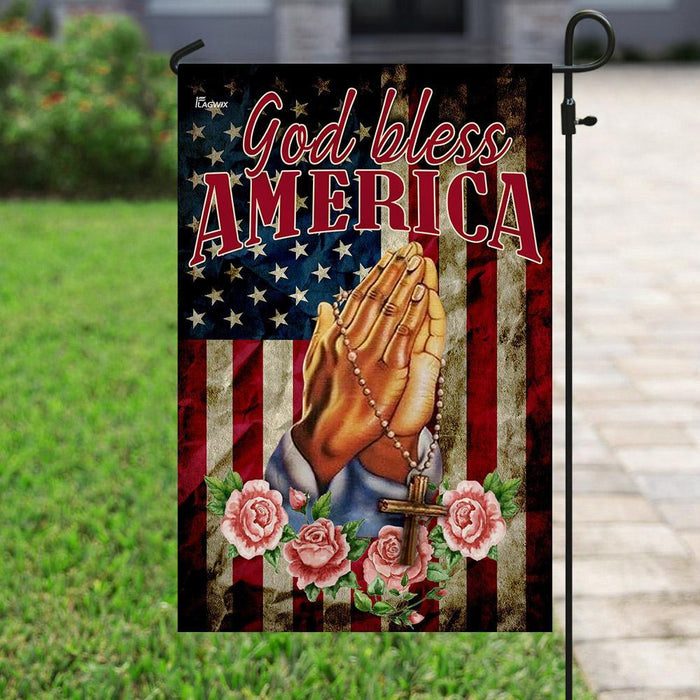 God Bless America Jesus Christian Prayer Flag | Garden Flag | Double Sided House Flag - GIFTCUSTOM