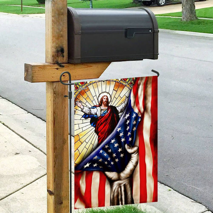 God Jesus Christian American Flag | Garden Flag | Double Sided House Flag - GIFTCUSTOM