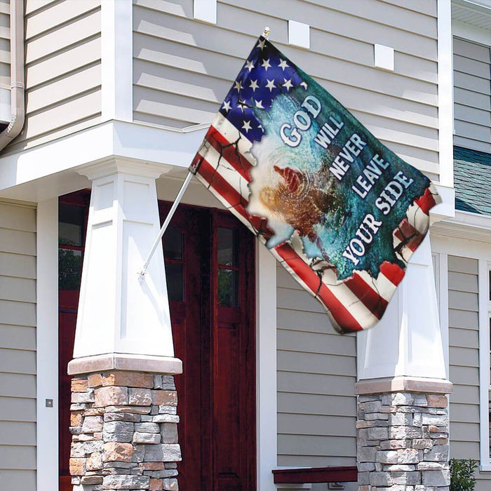 God Will Never Leave Your Side American US Flag | Garden Flag | Double Sided House Flag - GIFTCUSTOM