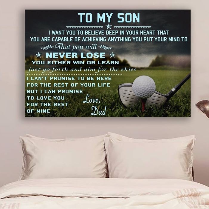 Golf Canvas and Poster ��� Dad to son ��� never lose wall decor visual art - GIFTCUSTOM
