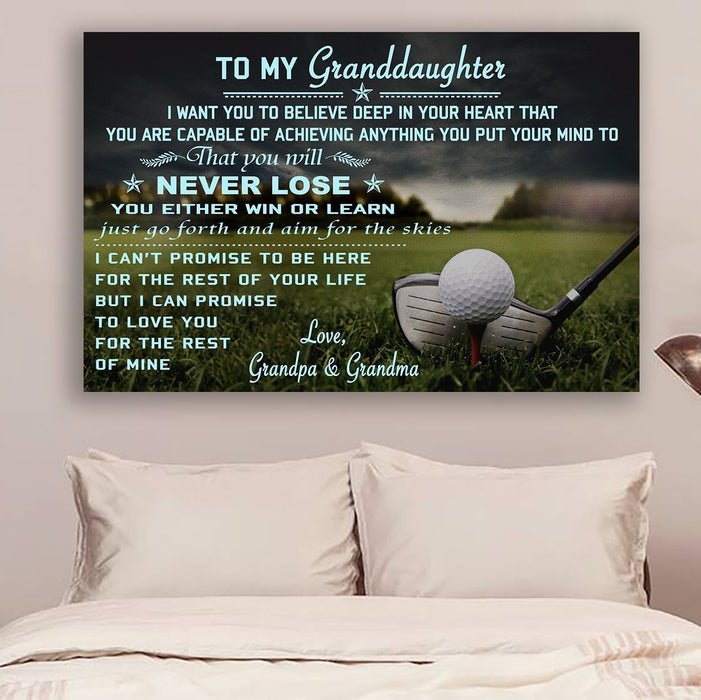 Golf Canvas and Poster ��� grandpa&grandma to granddaughter ��� never lose wall decor visual art - GIFTCUSTOM