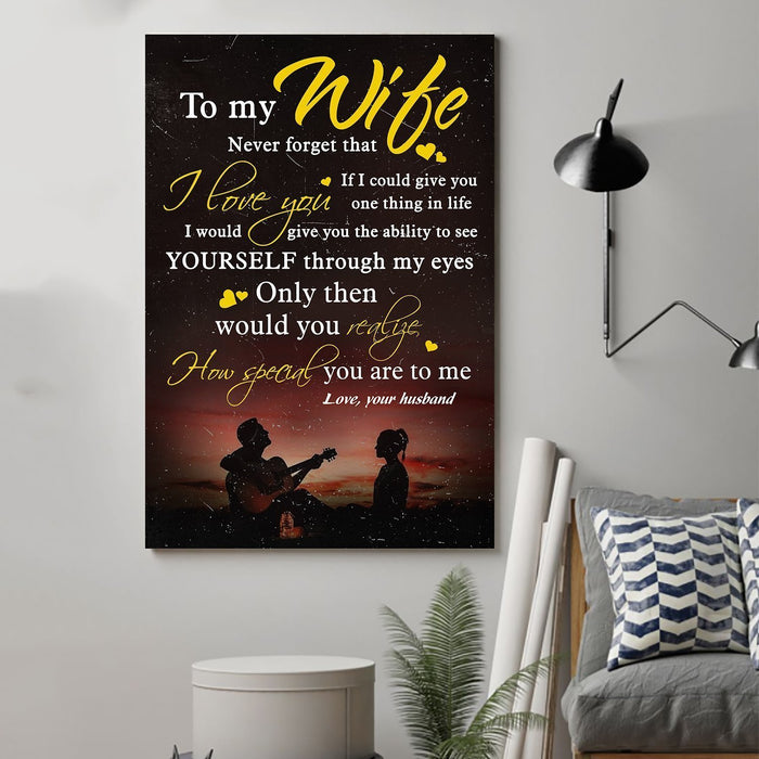 Guitar Canvas and Poster ��� Husband to wife ��� Never forget that ��� Yellow wall decor visual art - GIFTCUSTOM