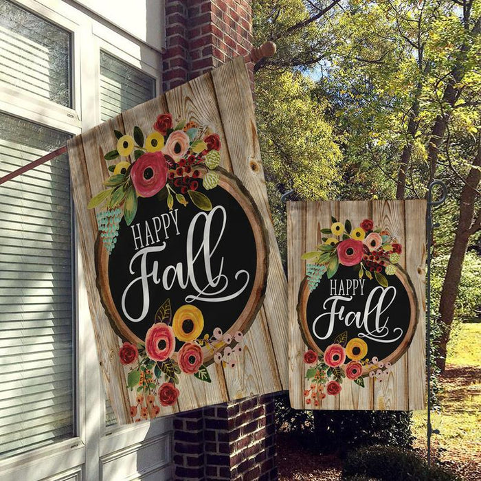 Happy Fall, Welcome Flags, House Flags, Garden Flags, Porch Flags, Yard Flags All Over Printed - GIFTCUSTOM
