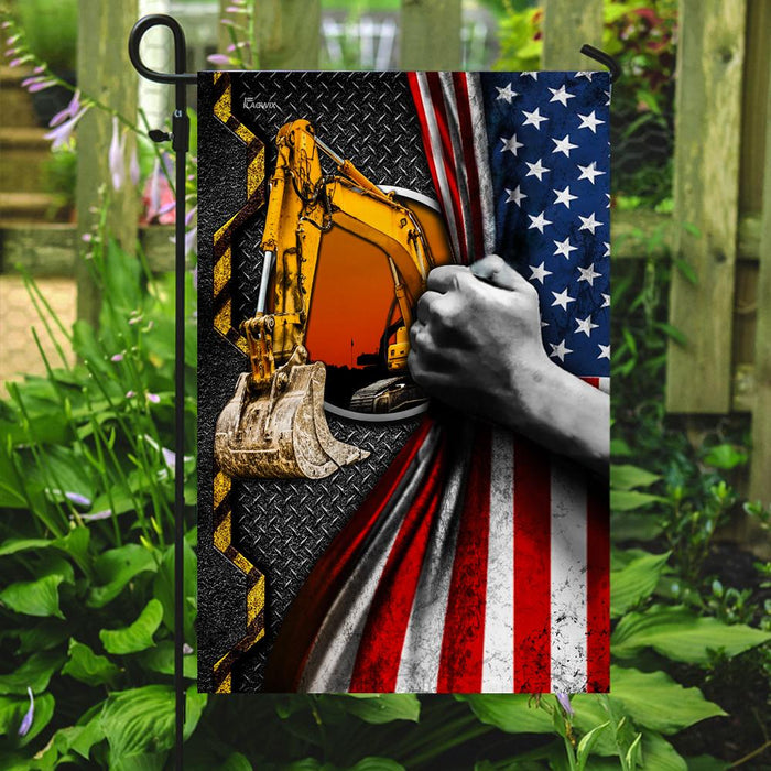 Heavy Machinery Excavator Flag | Garden Flag | Double Sided House Flag - GIFTCUSTOM