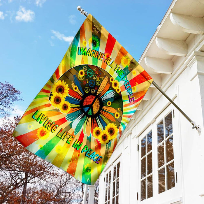 Hippie Peace Flag | Garden Flag | Double Sided House Flag - GIFTCUSTOM