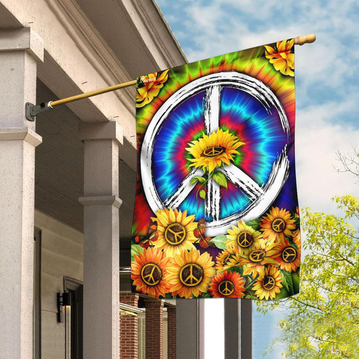 Hippie Tie Dye Sunflower Flag | Garden Flag | Double Sided House Flag - GIFTCUSTOM