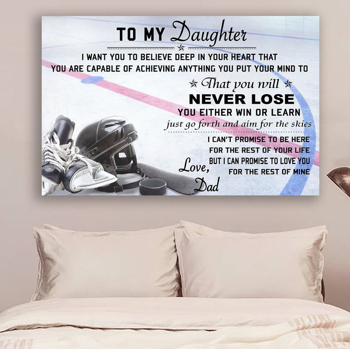 hockey Canvas and Poster ��� dad to daughter ��� never lose wall decor visual art - GIFTCUSTOM