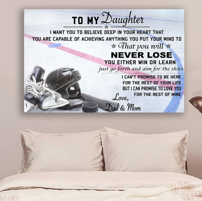 hockey Canvas and Poster ��� Dad&mom to daughter ��� never lose wall decor visual art - GIFTCUSTOM