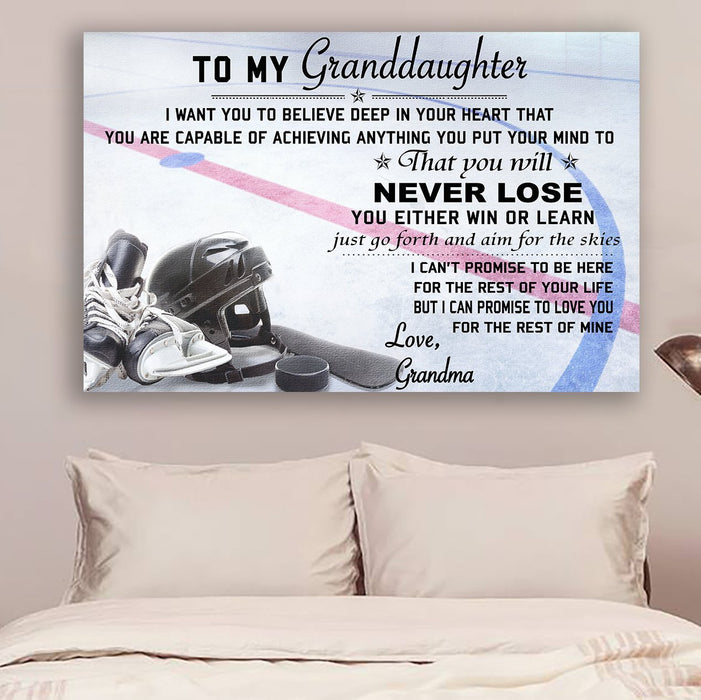 hockey Canvas and Poster ��� grandma to granddaughter ��� never lose wall decor visual art - GIFTCUSTOM