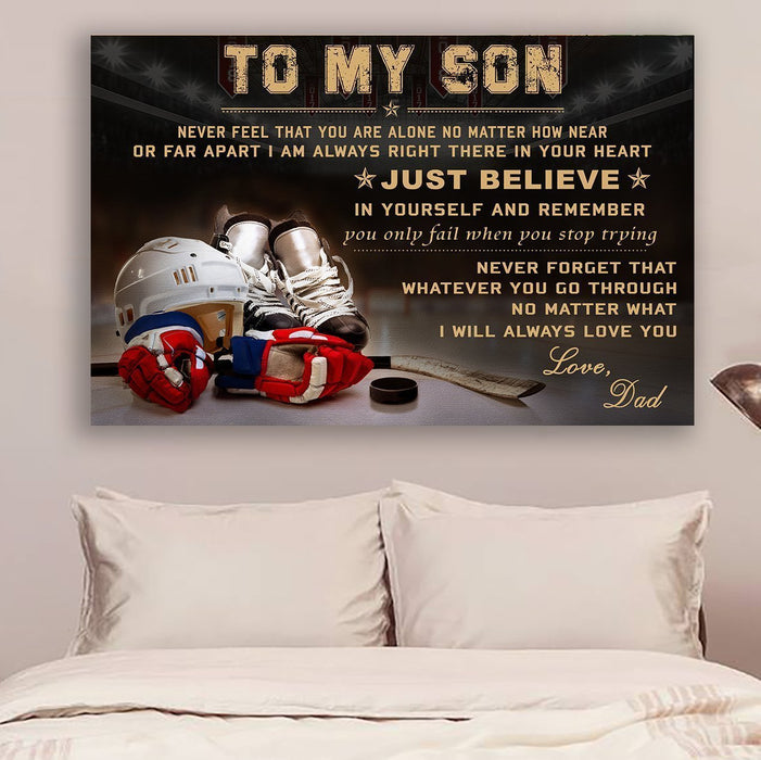 Hockey Canvas and Poster ��� To my son ��� Just believe wall decor visual art - GIFTCUSTOM